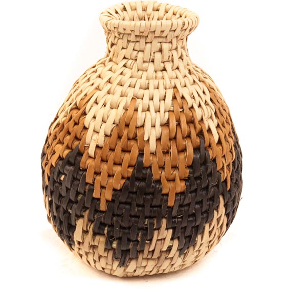 African Basket - Zulu Ilala Palm - Herb Vase -  4.5 Inches Tall - #40019