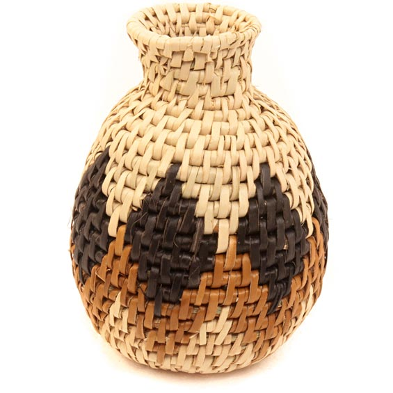 African Basket - Zulu Ilala Palm - Herb Vase -  4.25 Inches Tall - #40021