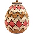 African Basket - Zulu Ilala Palm - Ukhamba - 13.75 Inches Tall - #53402