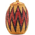African Basket - Zulu Ilala Palm - Ukhamba - 13.5 Inches Tall - #53824