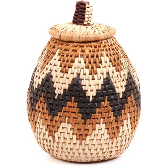 African Basket - Zulu Ilala Palm - Woven Herb Basket -  6 Inches Tall - #68567