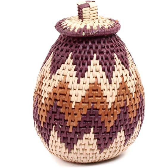 African Basket - Zulu Ilala Palm - Woven Herb Basket -  6 Inches Tall - #71514