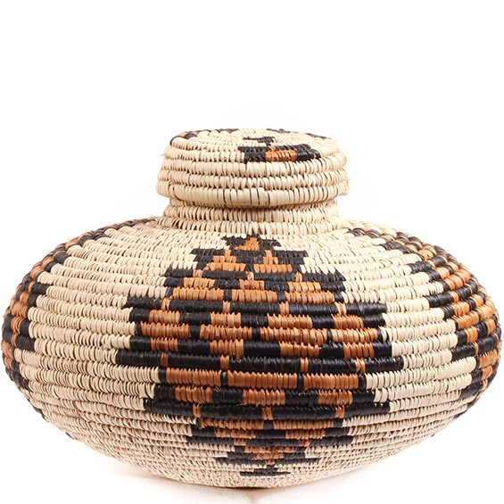 African Basket - Zulu Ilala Palm - Isichumo -  7 Inches Tall - #73183