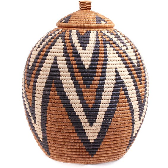 African Basket - Zulu Ilala Palm - Ukhamba - 11.5 Inches Tall - #73187