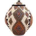 African Basket - Zulu Ilala Palm - Ukhamba - 16 Inches Tall - #73204