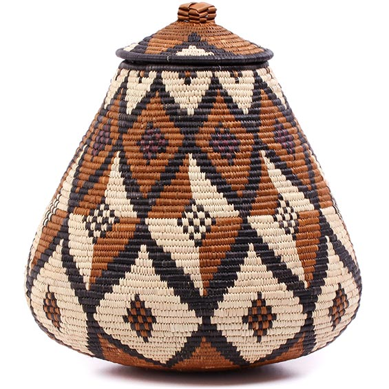 African Basket - Zulu Ilala Palm - Ukhamba - 11 Inches Tall - #75373