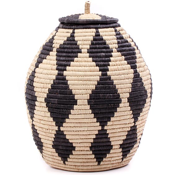 African Basket - Zulu Ilala Palm - Ukhamba - 11.25 Inches Tall - #75380