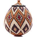 African Basket - Zulu Ilala Palm - Ukhamba - 17 Inches Tall - #75384