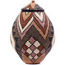 African Basket - Zulu Ilala Palm - Ukhamba - 18 Inches Tall - #75387