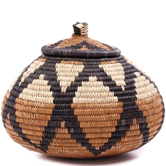 African Basket - Zulu Ilala Palm - Ukhamba -  5 Inches Tall - #75402