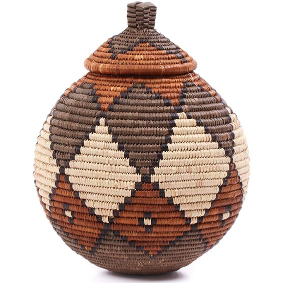 African Basket - Zulu Ilala Palm - Ukhamba -  7 Inches Tall - #75407