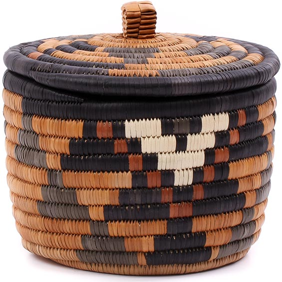African Basket - Zulu Ilala Palm - Ukhamba Canister -  6 Inches Tall - #75416