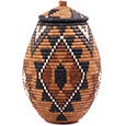 African Basket - Zulu Ilala Palm - Ukhamba - 14 Inches Tall - #75438