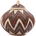 African Basket - Zulu Ilala Palm - Ukhamba - 13.75 Inches Tall - #75446