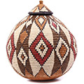 African Basket - Zulu Ilala Palm - Ukhamba - 14.5 Inches Tall - #75452