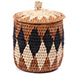 African Basket - Zulu Ilala Palm - Lidded Herb Canister -  6 Inches Tall - #75932