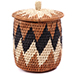 African Basket - Zulu Ilala Palm - Lidded Herb Canister -  6 Inches Tall - #75933