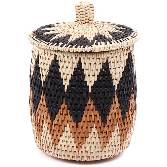 African Basket - Zulu Ilala Palm - Lidded Herb Canister -  6.5 Inches Tall - #75935