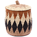 African Basket - Zulu Ilala Palm - Lidded Herb Canister -  6 Inches Tall - #75936