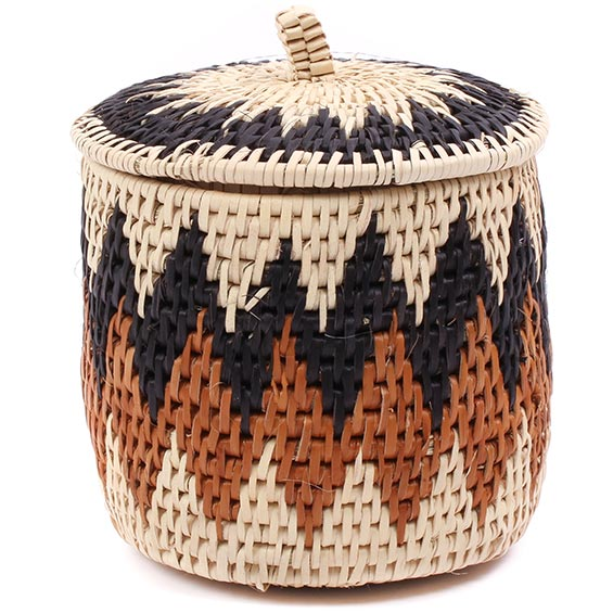 African Basket - Zulu Ilala Palm - Lidded Herb Canister -  5.75 Inches Tall - #75937