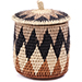 African Basket - Zulu Ilala Palm - Lidded Herb Canister -  6 Inches Tall - #75938
