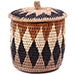 African Basket - Zulu Ilala Palm - Lidded Herb Canister -  6 Inches Tall - #75939