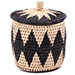 African Basket - Zulu Ilala Palm - Lidded Herb Canister -  5.25 Inches Tall - #75940