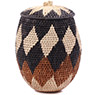 African Basket - Zulu Ilala Palm - Woven Herb Basket -  9.5 Inches Tall - #75942