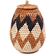 African Basket - Zulu Ilala Palm - Woven Herb Basket -  7 Inches Tall - #75943