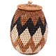 African Basket - Zulu Ilala Palm - Woven Herb Basket -  7 Inches Tall - #75944