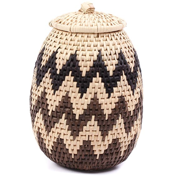 African Basket - Zulu Ilala Palm - Woven Herb Basket -  7.5 Inches Tall - #75946