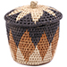 African Basket - Zulu Ilala Palm - Lidded Herb Canister -  5.25 Inches Tall - #78787