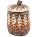 African Basket - Zulu Ilala Palm - Lidded Herb Canister -  5.75 Inches Tall - #78788