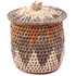 African Basket - Zulu Ilala Palm - Lidded Herb Canister -  5 Inches Tall - #78789