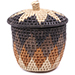 African Basket - Zulu Ilala Palm - Lidded Herb Canister -  5.75 Inches Tall - #78790