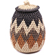 African Basket - Zulu Ilala Palm - Woven Herb Basket -  6.75 Inches Tall - #78791