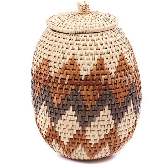 African Basket - Zulu Ilala Palm - Woven Herb Basket -  7.75 Inches Tall - #78795