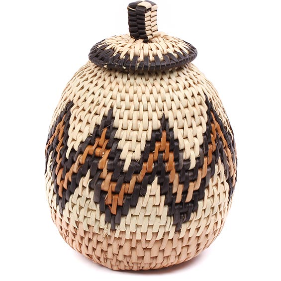 African Basket - Zulu Ilala Palm - Woven Herb Basket -  5.5 Inches Tall - #78797
