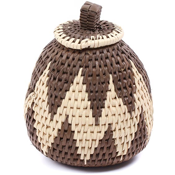 African Basket - Zulu Ilala Palm - Woven Herb Basket -  5 Inches Tall - #78798