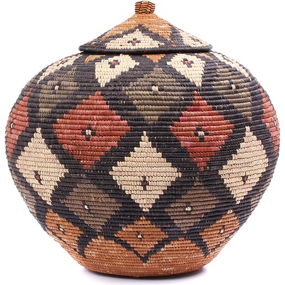 African Basket - Zulu Ilala Palm - Ukhamba - 14.25 Inches Tall - #78977