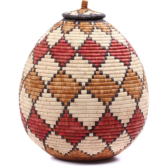 African Basket - Zulu Ilala Palm - Ukhamba - 16 Inches Tall - #78980