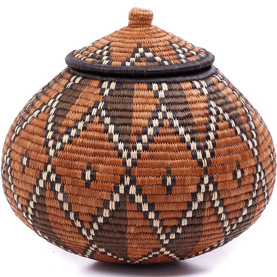 African Basket - Zulu Ilala Palm - Ukhamba - 11.25 Inches Tall - #79006