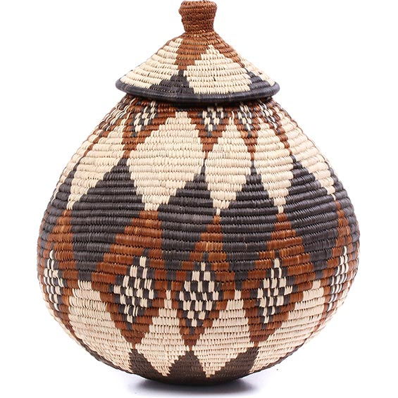 African Basket - Zulu Ilala Palm - Ukhamba - 13.25 Inches Tall - #79007