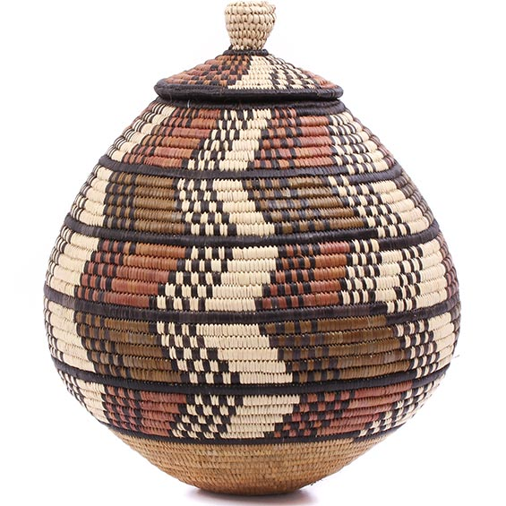 African Basket - Zulu Ilala Palm - Ukhamba - 12 Inches Tall - #79008