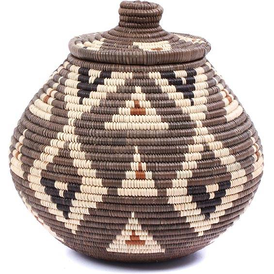African Basket - Zulu Ilala Palm - Ukhamba -  8 Inches Tall - #79015