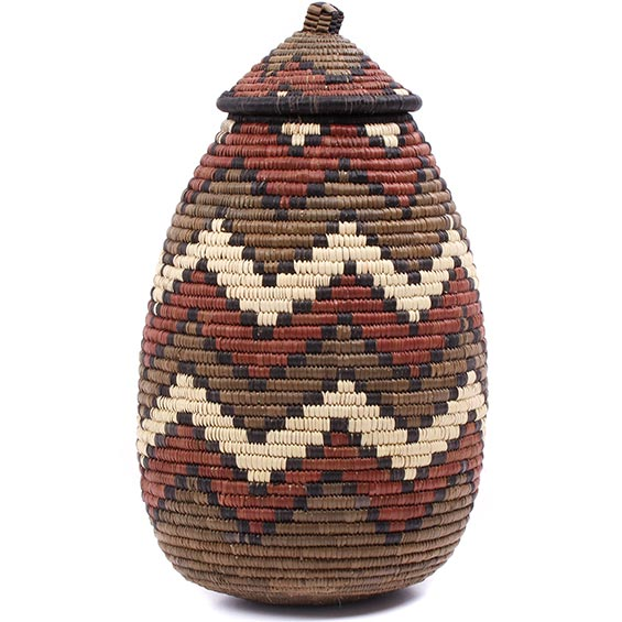 African Basket - Zulu Ilala Palm - Ukhamba - 13 Inches Tall - #79018