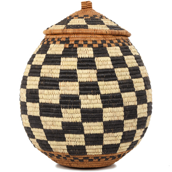 African Basket - Zulu Ilala Palm - Ukhamba - 10.5 Inches Tall - #90911