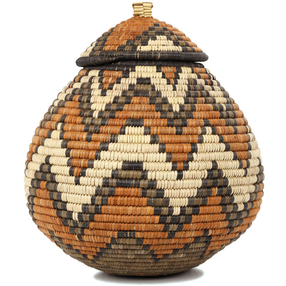 African Basket - Zulu Ilala Palm - Ukhamba - 11 Inches Tall - #90912
