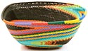 African Basket - Zulu Wire - Large Almost Square #21059