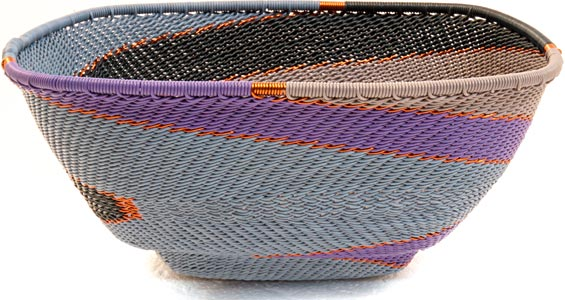 African Basket - Zulu Wire - Large Almost Square #36445